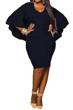 LaSuiveur Women\'s Batwing Sleeve V Neck Solid Bodycon Plus Size Dress