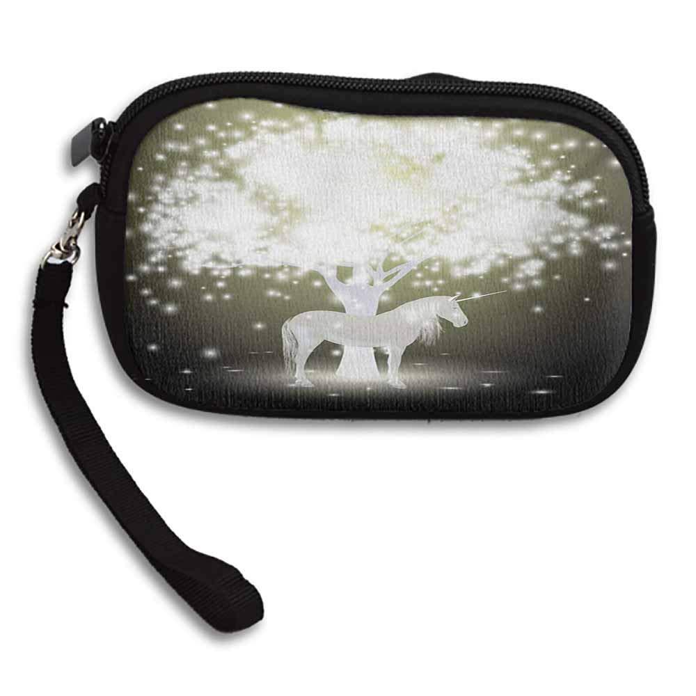 Magic Small Purse Wallets Legendary Unicorn Horse under Mystic Tree with Human Fantasy Artwork Design W 5.9x L 3.7 Change Zipper Pouch Cash Bag