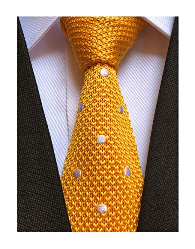 Men's Yellow Woven Preppy Stylish Knitted Tie Party Necktie Best Gift for -