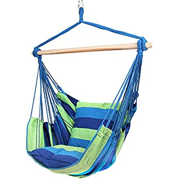 Superbe Blissun Hammock Chair, Hanging Chair, Swing Chair (Blue U0026 Green Stripes)