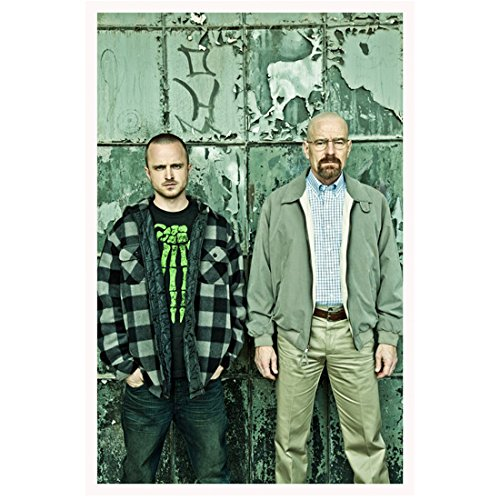 Breaking Bad (2008 - 2013) 11 inch x 17 inch lithograph Bryan Cranston Khaki Jacket & Aaron Paul Plaid Jacket Standing in Front of Grey Wall kn