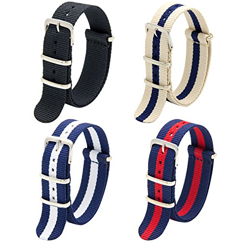 Nato Strap 4 Packs - 20mm 22mm Premium Ballistic Nylon Watch Bands Zulu Style with Stainless Steel Buckle (Black+Navy Red+Linen Navy+Navy White, 20mm) Photo #7