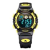 AZLAND Boys Watches,Sports Watch,Digital Watch Features Night-light,Swim,Frozen,Waterproof,Yellow