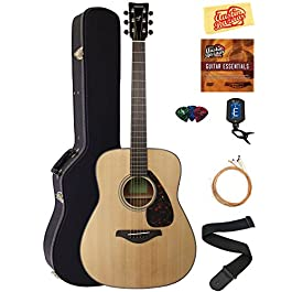 Yamaha FG800 Solid Top Folk Acoustic Guitar – Natural Bundle with Hard Case, Tuner, Strings, Strap, Picks, Austin Bazaar…