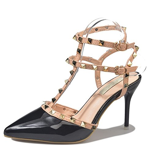 High Women Heels High Heel Shoes Pumps High Studded Stiletto pumps Fashion VIVIOO Sandals Heels Pointed Ladies Buckle Toe Pumps black Wedding 40Efq