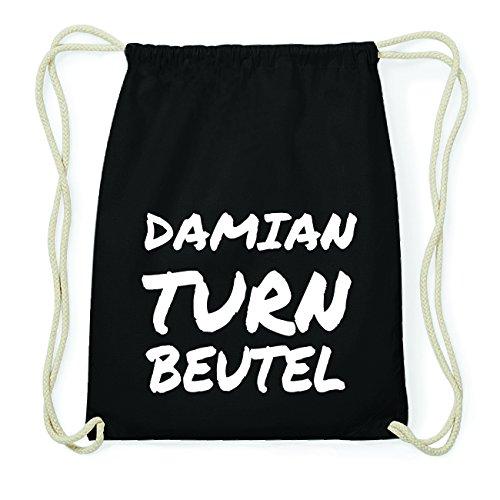 JOllify DAMIAN Hipster Turnbeutel Tasche Rucksack aus Baumwolle - Farbe: schwarz Design: Turnbeutel