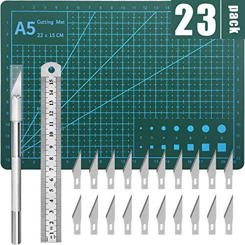 DIYSELF Exacto Knife Upgrade Cutting Mat Carving Craft Knife Hobby Knife Exacto Knife Kit (Color: Green, Tamaño: A5)