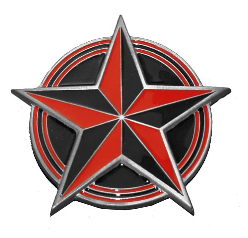 Red And Black Nautical Star Painted Belt Buckle