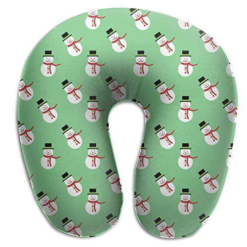 NiYoung U Neck Pillow, Airplane Office Travel Rest Multi-Color Memory Foam U Shape Pillow for Adults-Christmas Snowman