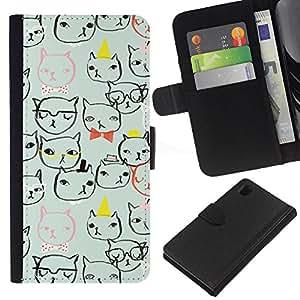Sony Xperia Z1 / L39h / C6902 Modelo colorido cuero carpeta tirón caso cubierta piel Holster Funda protección - Cat Faces Glasses Art Drawing Minimalistic
