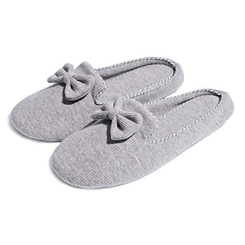 Slip Memory Bow Non Womens Cotton Thgonwid Indoor Knot Grey Slippers Cozy Shoes Foam House qzU8CCw