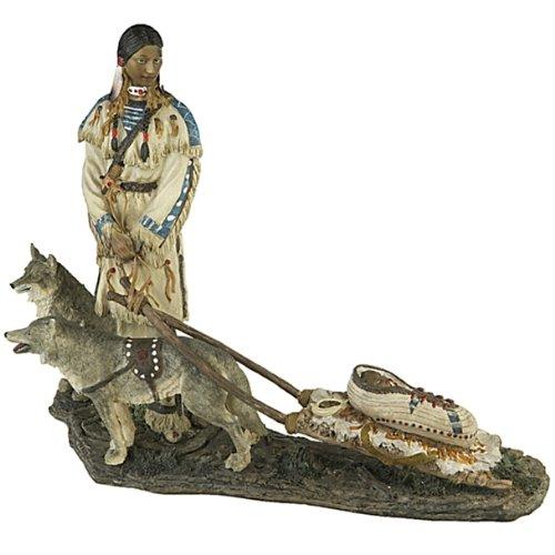 Indianer Figur mit Schlitten und Wölfen