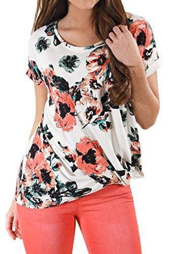 Cfanny - Camisas - Manga corta - para mujer Dark Floral