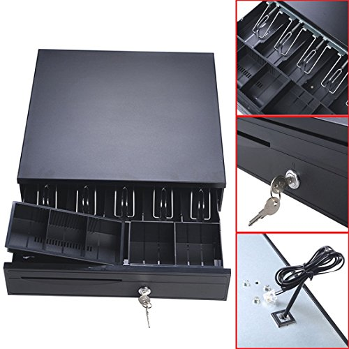 Cash Drawer Box-Trays Works Compatible Epson/Star POS Printers w/5Bill &5Coin
