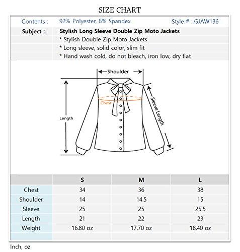 Luna Flower Women's Stylish Long Sleeve Double Zip Moto Jackets OFFWHITE Large (GJAW136) by Luna Flower (Image #4)