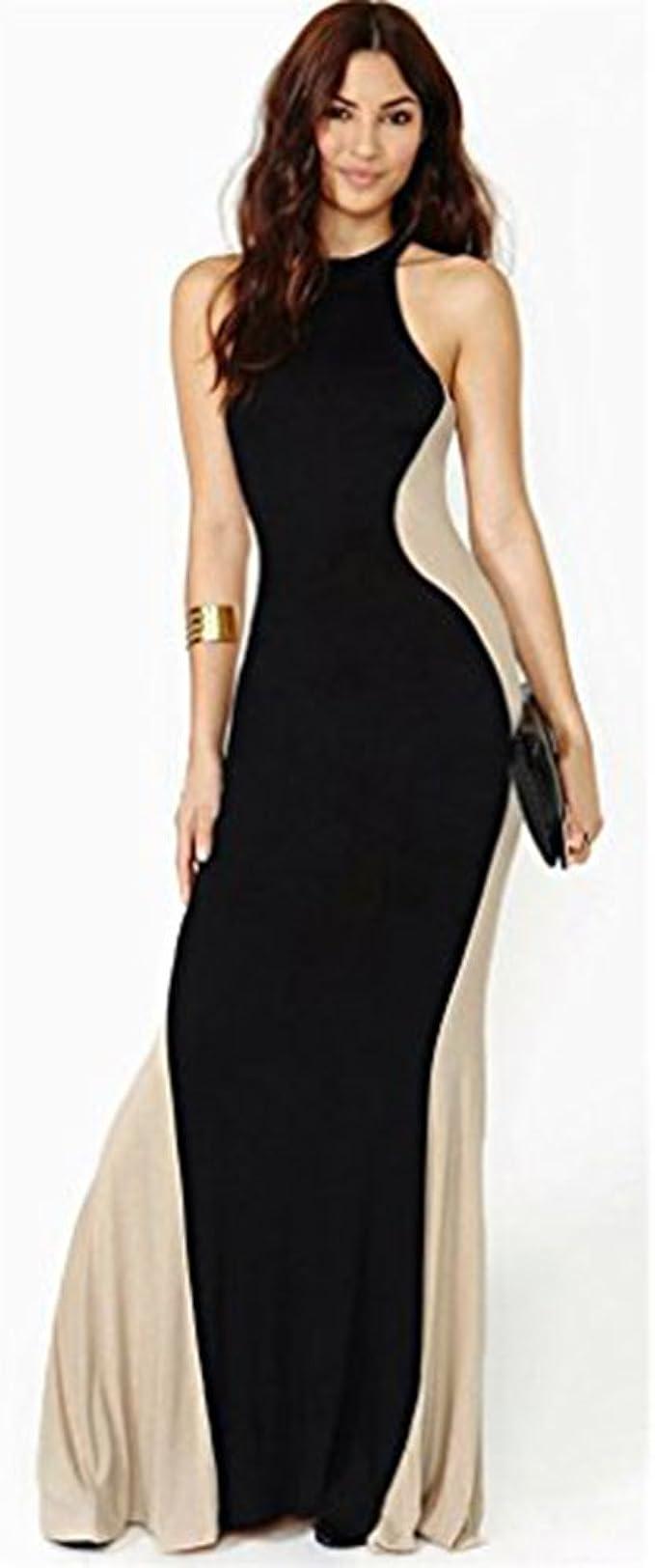 Kleid, Abend zweifarbige eng lang - schwarz/Beige - Größe L
