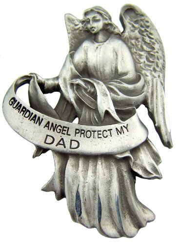 Pewter Guardian Angel Visor Clip, 2 1/2 Inch - Protect My (Dad Visor Clip)