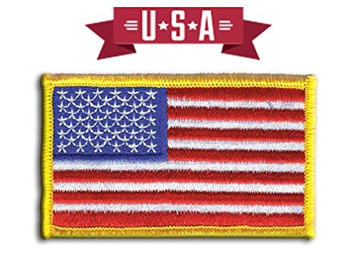 (American Flag Patch, U.S. Flag Patch Embroidered Patch white border USA Patch United States of America, sew on, Gold)
