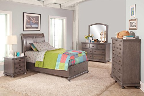 Alabaster Youth 5 Piece Full Storage Bedroom Set - Bed, Nightstand, Dresser & Mirror in Rustic Pewter Finish by NCF Furniture