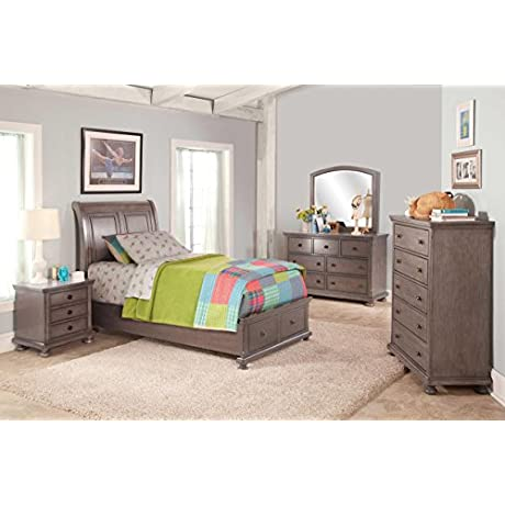 Alabaster Youth 5 Piece Twin Storage Bedroom Set Bed 2 Nightstand Dresser Mirror Chest In Rustic Pewter