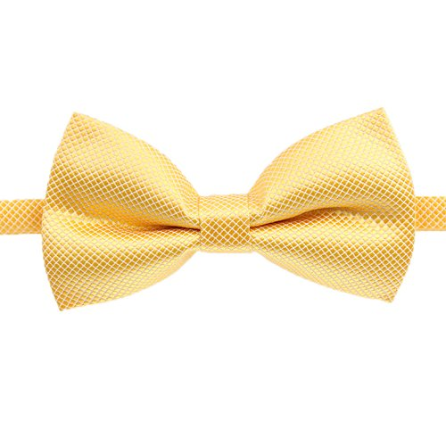 (Classic Male Femal Bowtie Fashion Solid Color Neckwear Unisex Mens Women Bow Tie Polyester 6CM Yellow)