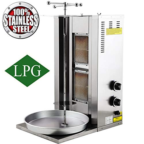 Gyro Broiler - Full Set Meat Capacity 25 kg / 55 lbs. 2 Burner Propane Gas Spinning Grills Vertical Broiler Shawarma Gyro Doner Kebab Tacos Al Pastor Grill Trompo Machine Commercial or for Home Use