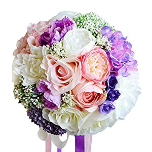 Abbie Home Bride Bouquets - 9 inches Artificial Wedding Flower Roses Toss Holding Bouquet - Rhinestone Ribbon Décor (475) 3