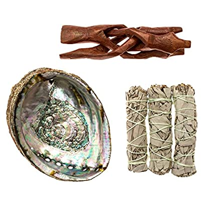 Abalone Shell with Wooden Stand White Sage