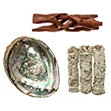 """Premium Abalone Shell with Wooden Tripod Stand and 3 California White Sage Smudge Sticks. Alternative Imagination Brand. (5"""" - 6"""" Abalone Shell)"""