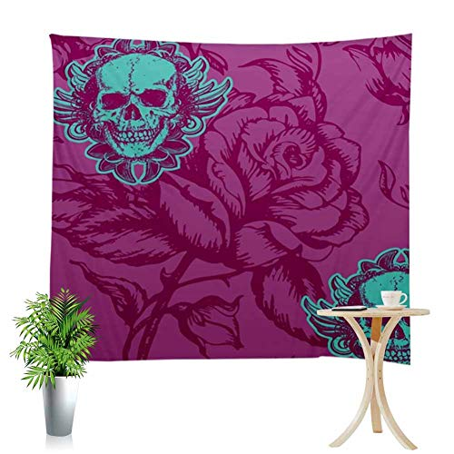 Wall Art Tapestry Purple Rose Background Green Flower