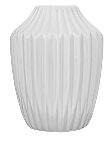 Bloomingville Vase Geriffelt Matt Weiß Blumenvase Skandinavisch Porzellan  Höhe 13 Cm