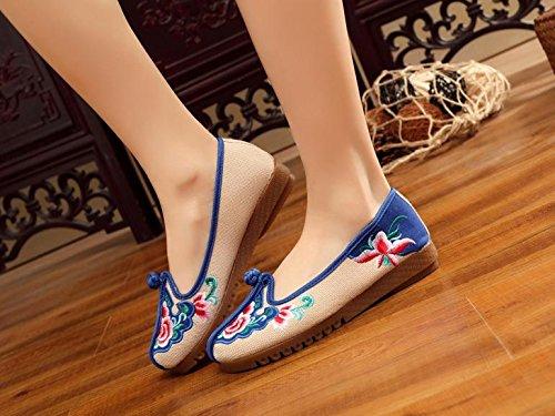 GuiXinWeiHeng xiuhuaxie Zapatos bordados, lenguado de tend¨®n, estilo ¨¦tnico, zapatos de tela femenina, moda, c¨®modo, casual beige