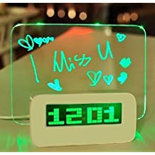 Digital Alarm Clock, KEEDA LED Screen Clock with Fluorescent light Message Board, Calendar Snooze Night Light, 4 USB and Battery Powered (Green)