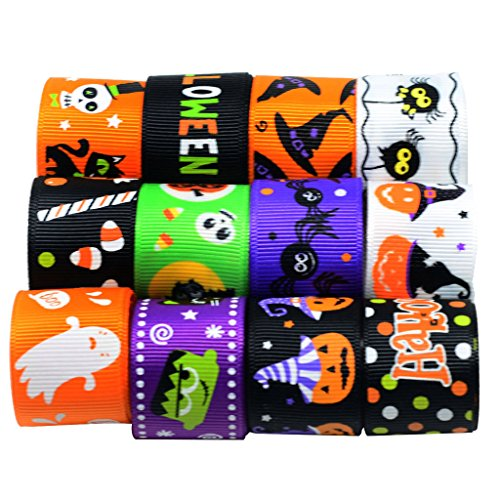 Jili Online 12 Pieces 1 Yard Mixed Halloween Grosgrain Ribbons for DIY Kids Hair Bow Craft Decoration (Diy Decorations Halloween)