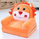 WAYERTY Children Sofa, Children's Armchair Stretch Sleepover Cartoon Washable Cushion Baby Small Sofa Lazy Seat Tatami Kid Chair Birthday Gift-Orange 50x40x47cm(20x16x19inch)