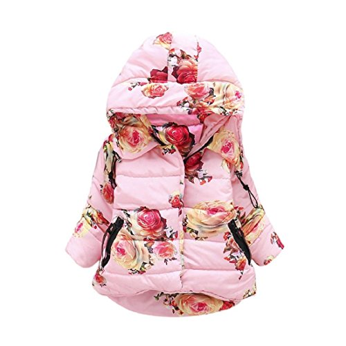 GONKOMA Infant Toddler Baby Girls Warm Winter Outerwear Floral Tops Casual Clothes Coat