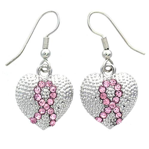 Pink Ribbon Breast Cancer Awareness Heart Dangle Earrings Light Pink Rhinestones Fashion Jewelry
