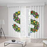TecBillion Decor Collection,Letter S,for Bedroom Living Dining Room Kids Youth Room,Pine Design Letter S Christmas Ornaments Colorful Balls Stars Multicolored Pattern Decorative,103Wx83L Inches