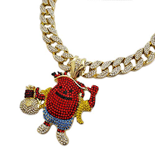 BLINGFACTORY Hip Hop Iced Out Kool AID Man Holding Money Bag Pendant w/ 18