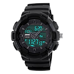 Fanmis Men's Analog Digital LED Watches Military Multifunctional Waterproof Quartz Sports Wrist Watch Black