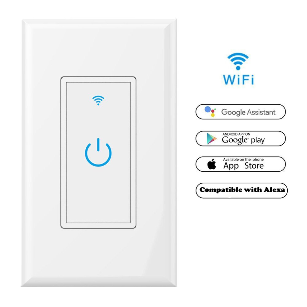WiFi Smart Light Switch In-Wall,Phone Remote Control Wireless Switch No Hub Required,Timing Function, Automatic Control Your Fixtures From Anywhere,Compatible with Amazon Alexa,Overload Protection 15A by NewRice (Image #1)
