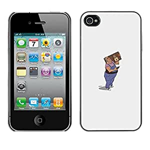 LECELL--Funda protectora / Cubierta / Piel For Apple iPhone 4 / 4S -- Mail Man Drawing Art 3D Figure Package --
