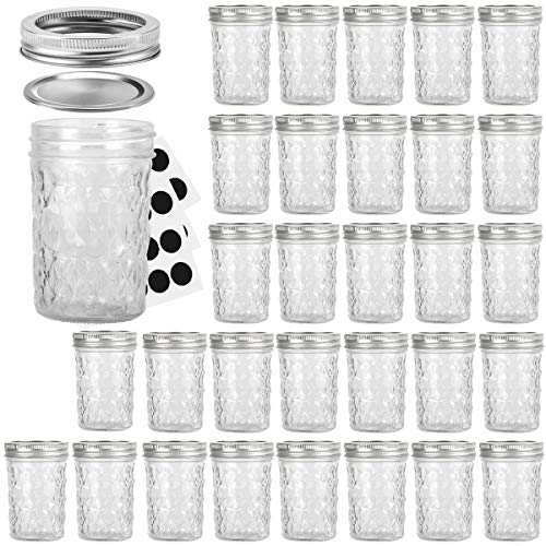 Mason Jars 8OZ, VERONES 8 OZ Canning Jars Jelly Jars With Regular Lids, Ideal for Jam, Honey, Wedding Favors, Shower Favors, Baby Foods, 30 PACK ()