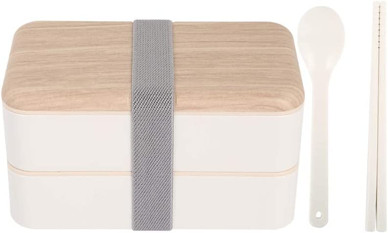 Original Japanese bento box,40.6 oz food storage container,stackable cutlery Lunch Box (white)