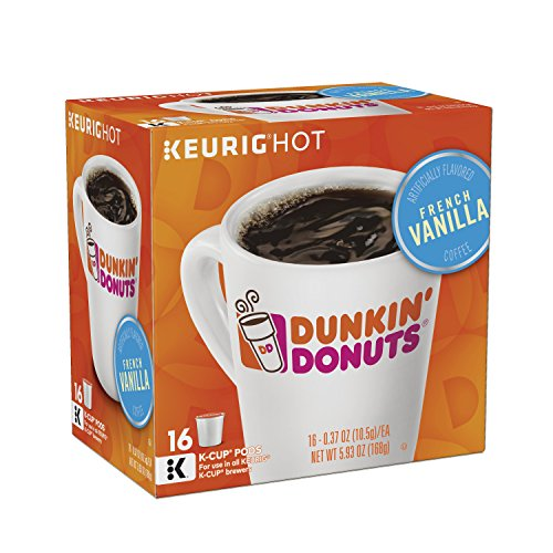 Dunkin' Donuts French Vanilla Flavored Coffee K-Cup Pods, For Keurig Brewers, 64 Count - Folgers French Coffee