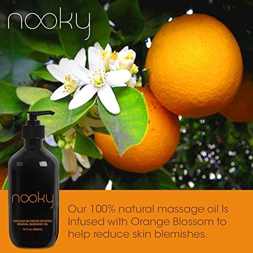 Nooky Orange Blossom Massage Oil. With Jojoba & Essential Oils. For Sensual Massaging 16oz