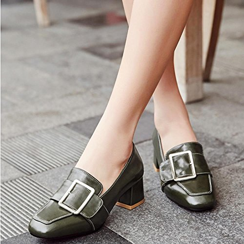 COOLCEPT Mujer Moda Hebilla Planos Acento Irlandes Bombas Zapatos Formal Colegio Zapatos Extra Tamano Verde