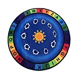 USTIDE ABC with Colors Kids Alphabet Educational Area Rug, 3'3'' Round