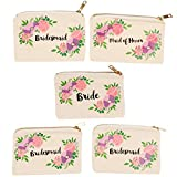 Bridal Shower Makeup Bag - 5-Pack Canvas Cosmetic Pouches for Wedding Favors, Bachelorette Party Gifts, Bride Tribe Accessories, Vintage Floral Design, 7.2 x 4.7 Inches