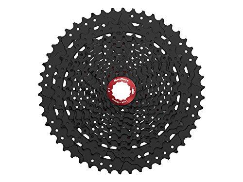 Sunrace 11-speed 11-50T CSMX80 wide ratio MTB Cassette freewheel with rear derailleur extender by JGbike (Black Chrome) by JGbike